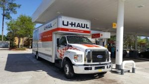 Phot of a Uhaul truck at a gas station Rented Truck Driver was featured on Fox 12 News Oregon