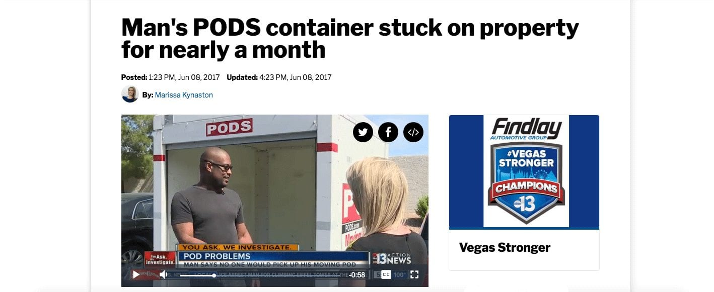 Picture of an unhappy PODS Customer with a news reporter.
