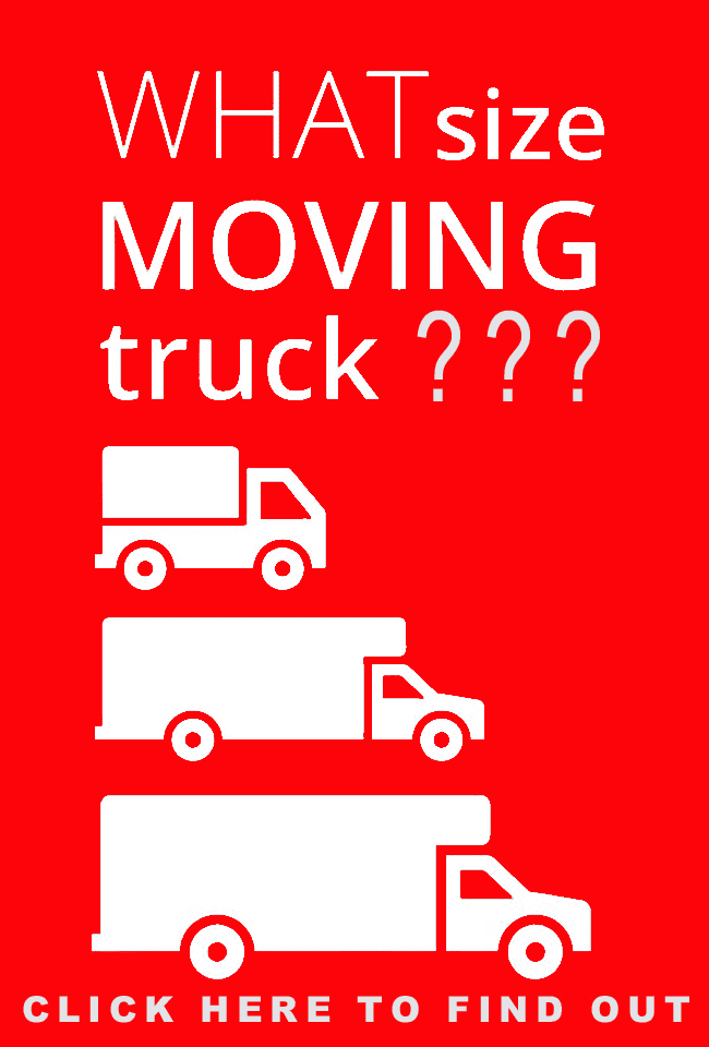 "Photo of different size trucks with text question,""What size moving truck?"""